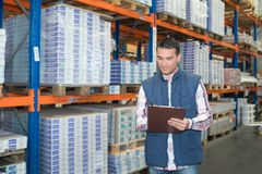Portrait manager in warehouse Stock Images