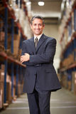 Portrait Of Manager In Warehouse. Smiling o Camera stock photo