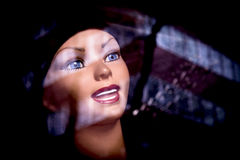 Portrait of mannequin with glass reflections Stock Photos