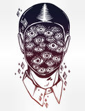 Portrait of a many eyed man with surreal face. Royalty Free Stock Images