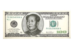 Portrait of Mao Ce Dun over American dollar Stock Image