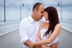 Portrait of married couple at Baltic scenery Royalty Free Stock Photo