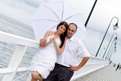 Portrait of married couple at Baltic sea Stock Photo