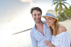 Portrait of married couple enjoying honeymoon on caribbean islands Royalty Free Stock Image