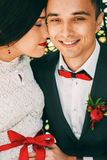 Portrait of married couple with red accessories Royalty Free Stock Image