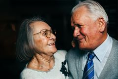 Portrait of elderly happy couple smiling. Portrait of married elderly happy couple smiling in Leipzig, Germany Royalty Free Stock Images