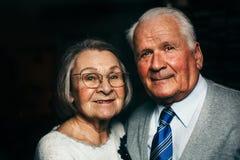 Portrait of elderly happy couple smiling stock photos