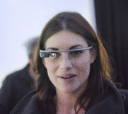Portrait martina panagia tests google glass Stock Images
