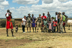 Portrait of Masai Mara with tourist Royalty Free Stock Photography