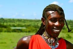 Portrait of Masai Mara warrior stock photo