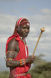 Portrait of Masai Warrior in traditional red toga at Lewa Wildlife Conservancy in North Kenya, Africa Stock Images