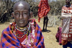 Portrait of Masai woman and colorful beads jewelry Royalty Free Stock Images