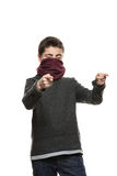 Portrait of masked boy. Masked boy pointing fingers, closed eyes, isolated on white background Stock Images