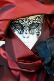 Portrait masqué costumé rouge de femme Photo libre de droits