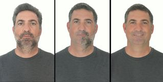 Portrait of mature adult man stages of growing a bear. By stop shaving for a few days royalty free stock image