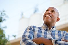Happy mature African American man smiling outside. Stock Photography