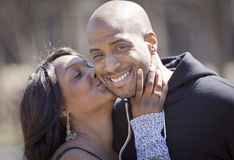 Portrait Of A Mature Black Couple Smiling royalty free stock images