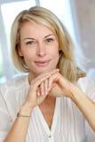 Portrait of mature blond woman Stock Images
