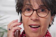 Portrait of mature brunette woman talking on phone Stock Image