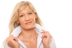 Portrait mature business woman isolated Stock Image