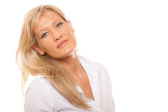 Portrait mature business woman isolated Stock Photos