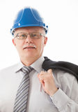 Portrait of a mature businessman in a blue helmet Royalty Free Stock Photography