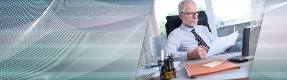 Portrait of mature businessman checking documents. panoramic banner royalty free stock photos