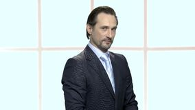 Portrait of mature businessman with distrustful look. Confident bearded man in formal wear expressing distrust emotion. Checkered window background stock footage
