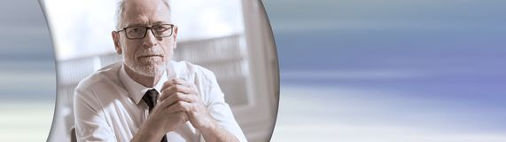 Portrait of mature businessman. panoramic banner royalty free stock images