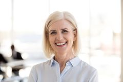 Portrait of mature businesswoman posing smiling at camera stock images