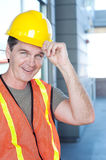Portrait of a mature construction worker outside Stock Photo