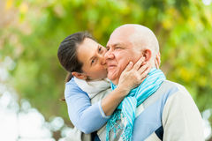 Portrait of mature couple in autumn park Royalty Free Stock Photography
