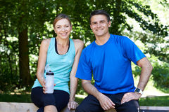Portrait Of Mature Couple Exercising In Countryside Together Stock Photography