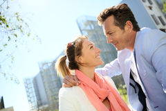 Portrait of mature couple hanging in suburb park Royalty Free Stock Image
