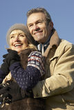 Portrait mature couple outdoors in winter Royalty Free Stock Photos