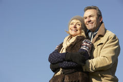 Portrait mature couple outdoors in winter Stock Images