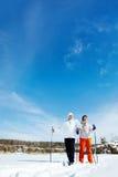 Skiing couple Stock Photo
