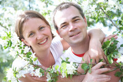 Portrait of Mature couple in the spring garden Royalty Free Stock Image