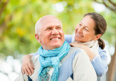 Portrait of mature couple in sweaters Stock Image