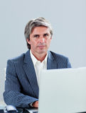Portrait of a mature executive working at a laptop Stock Image