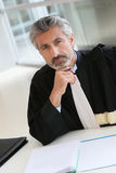 Portrait of mature lawyer writing a report Royalty Free Stock Photo