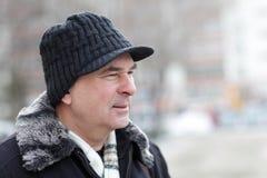 Portrait of mature man. Outdoor in winter stock photos