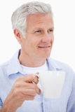 Portrait of a mature man drinking tea Royalty Free Stock Photo