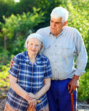 Portrait of a mature man and his senior mother Stock Photos
