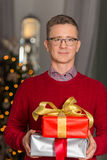 Portrait of mature man holding stack of Christmas presents. Portrait of mature men holding stack of Christmas presents royalty free stock photos