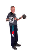 Portrait Of Mature Man Lifting Barbell Stock Images