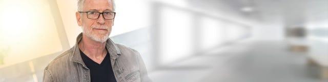 Portrait of mature man, light effect stock photo
