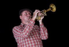 Portrait of mature trumpeter Royalty Free Stock Image