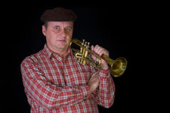 Portrait of mature trumpeter Royalty Free Stock Images