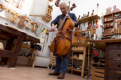 Portrait of mature violin maker Royalty Free Stock Photography